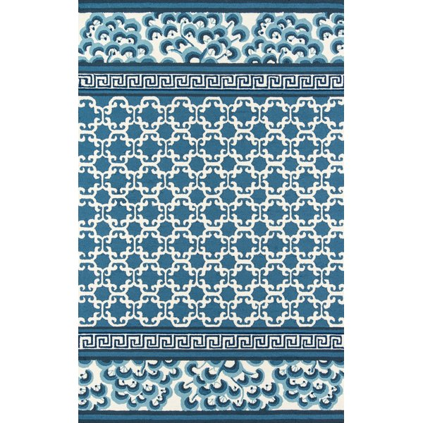 Navy, Blue, Ivory Contemporary / Modern Area-Rugs