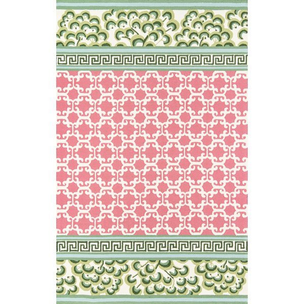 Pink, Green, Ivory Contemporary / Modern Area-Rugs