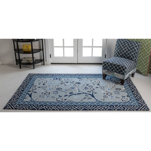 Blue, Navy, White Floral / Botanical Area-Rugs