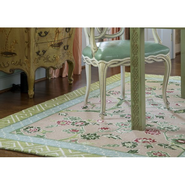 Pink, Green, Blue Floral / Botanical Area-Rugs