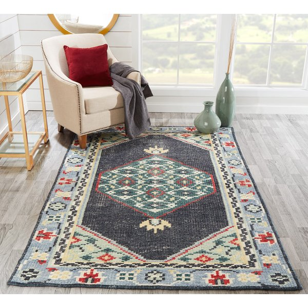 Charcoal, Blue, Red Vintage / Overdyed Area-Rugs