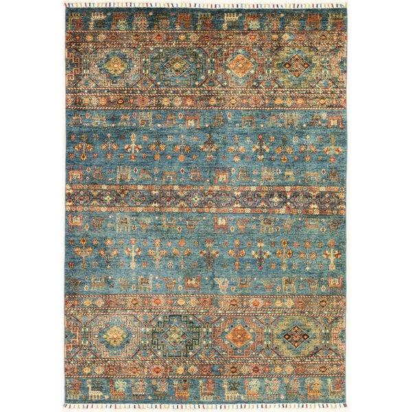 Blue, Red, Gold Traditional / Oriental Area Rug
