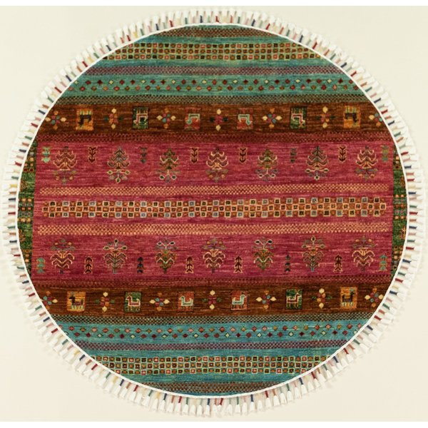 Pink, Blue, Burgundy Traditional / Oriental Area Rug