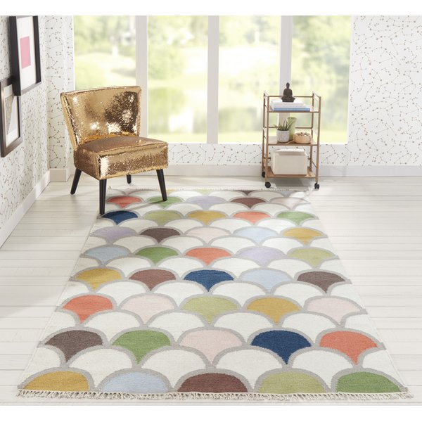 Ivory, Green, Blue (TOP-2) Contemporary / Modern Area Rug