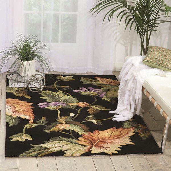 Black Floral / Botanical Area Rug