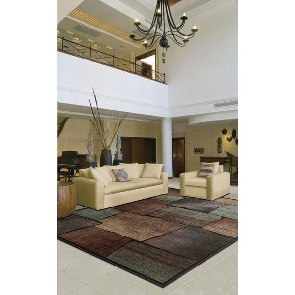 Brown, Aqua Contemporary / Modern Area-Rugs