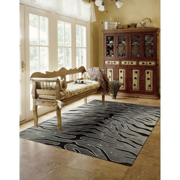 Black, Grey Contemporary / Modern Area Rug