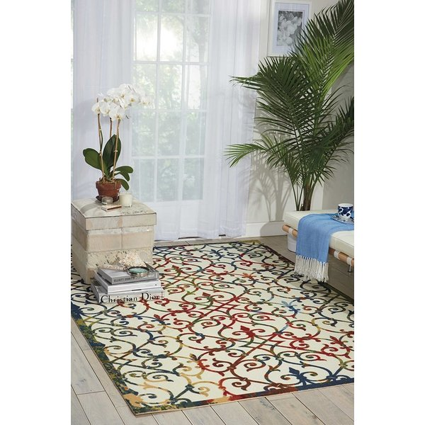 Ivory, Red, Yellow Blue, Olive Contemporary / Modern Area Rug