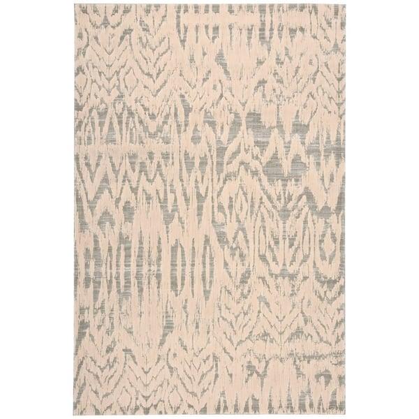 Ivory, Grey Contemporary / Modern Area Rug