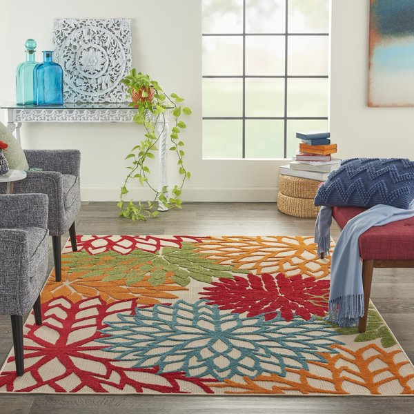Green, Red, Orange Floral / Botanical Area Rug