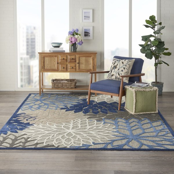 Blue, Beige, Cream Floral / Botanical Area Rug
