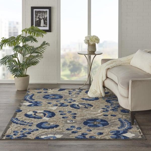 Natural, Blue Contemporary / Modern Area Rug