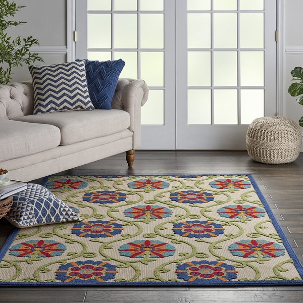 Beige, Blue, Red Contemporary / Modern Area Rug