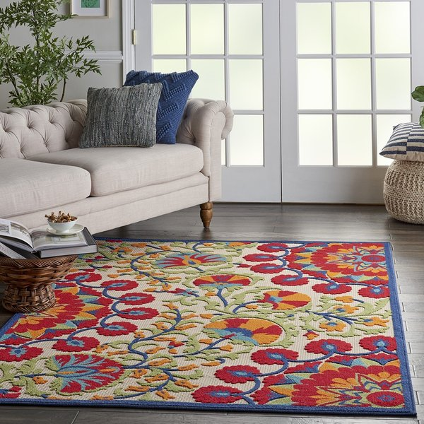 Beige, Red, Blue Contemporary / Modern Area Rug