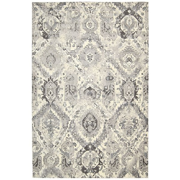 Ivory, Grey Traditional / Oriental Area Rug