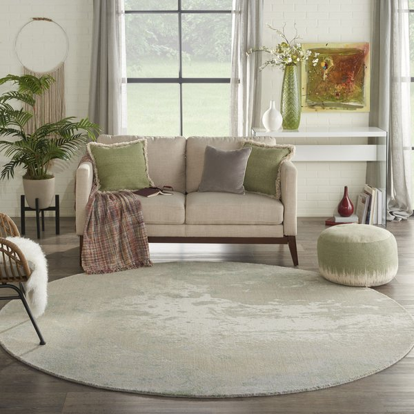 Ivory, Green Contemporary / Modern Area-Rugs