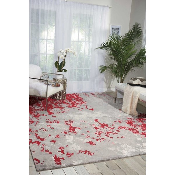 Grey, Red Contemporary / Modern Area Rug
