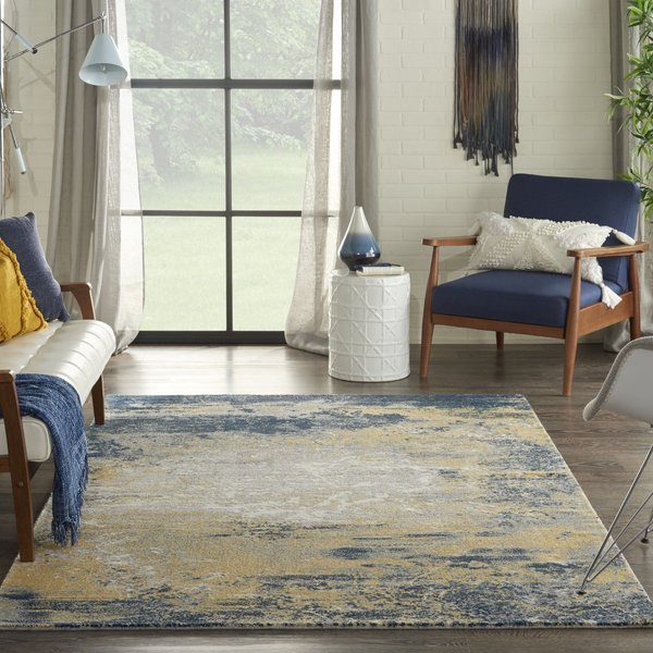 Navy, Gold Contemporary / Modern Area-Rugs