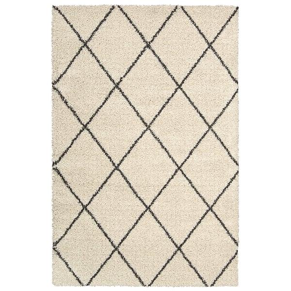 Ivory, Charcoal Shag Area Rug