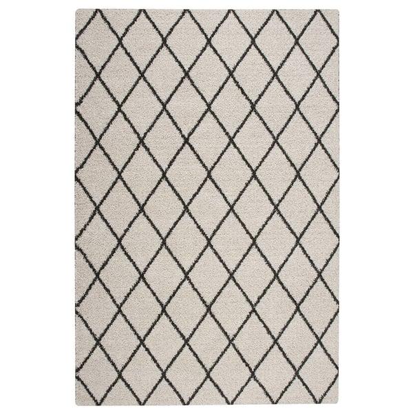 Ivory, Charcoal Shag Area-Rugs