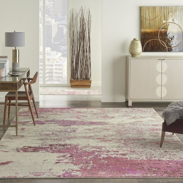 Ivory, Pink Abstract Area Rug