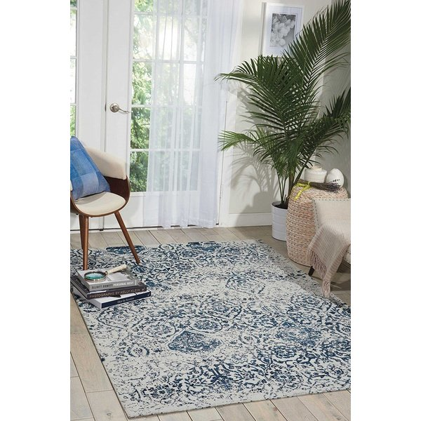 Ivory, Navy Traditional / Oriental Area Rug