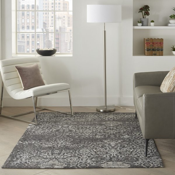 Dark Grey Traditional / Oriental Area Rug