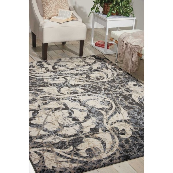 Ivory, Charcoal Contemporary / Modern Area Rug
