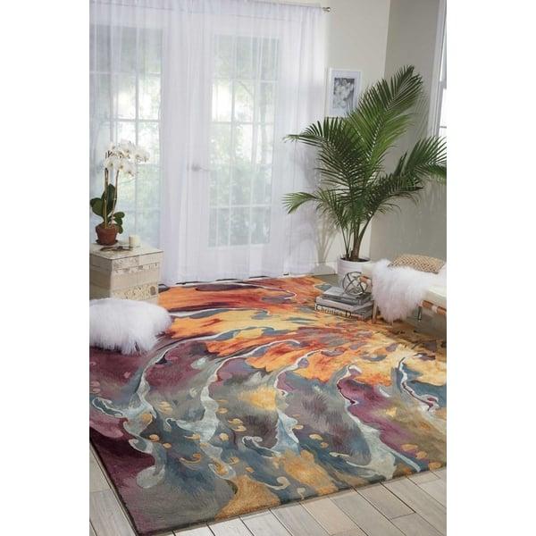 Orange, Peach, Violet, Medium Grey, Light Grey Contemporary / Modern Area Rug