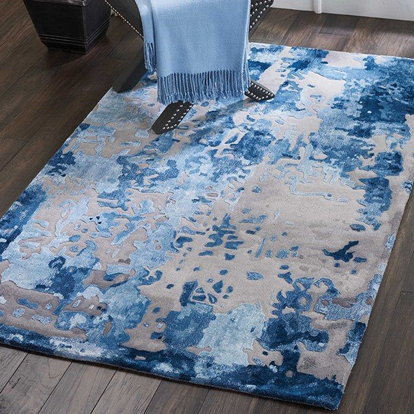 Blue, Grey Abstract Area-Rugs