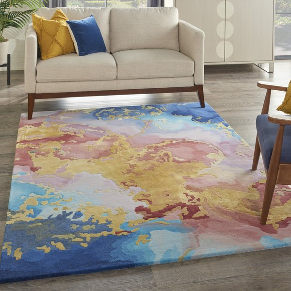 Blue, Pink, Yellow Contemporary / Modern Area-Rugs