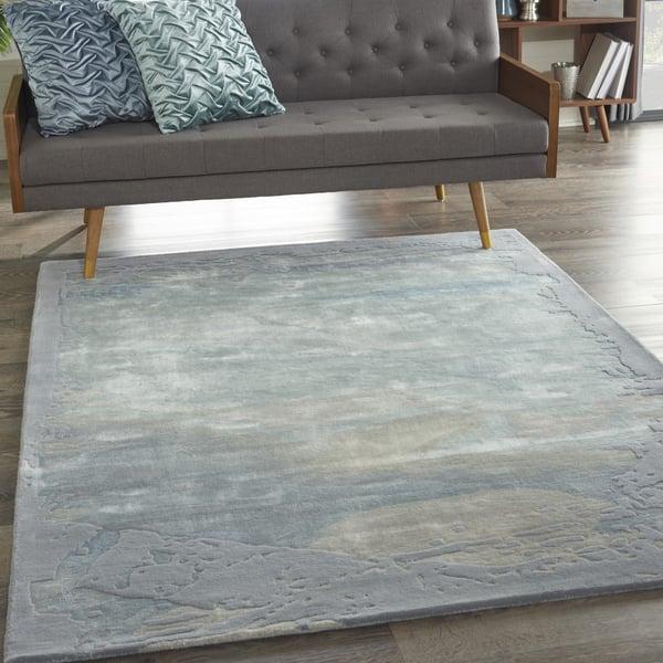 Seafoam, Silver Contemporary / Modern Area-Rugs