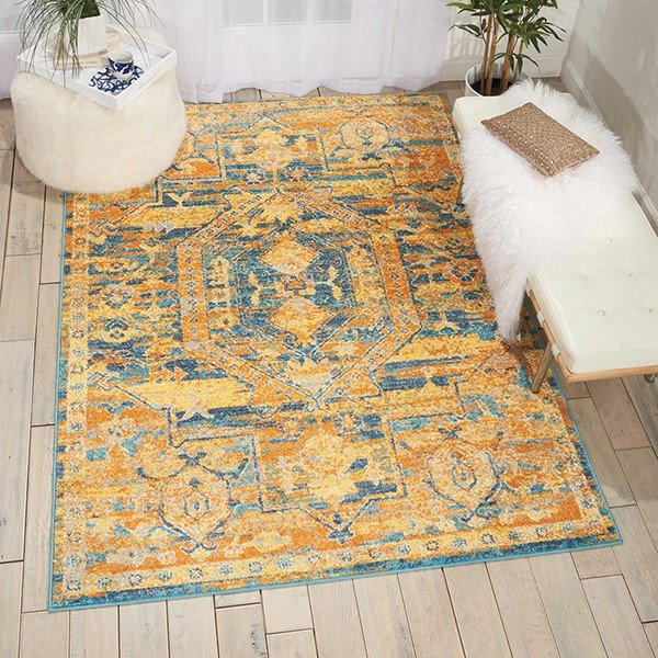 Teal, Sun Traditional / Oriental Area Rug