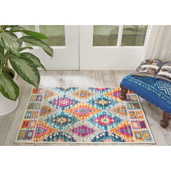 Blue, Pink, Yellow Traditional / Oriental Area Rug