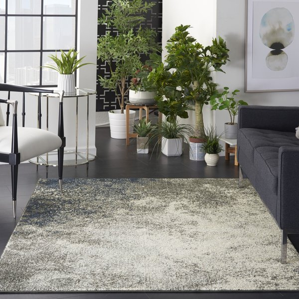 Charcoal, Ivory Contemporary / Modern Area Rug