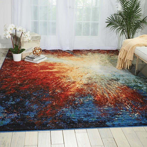 Red Flare Contemporary / Modern Area-Rugs