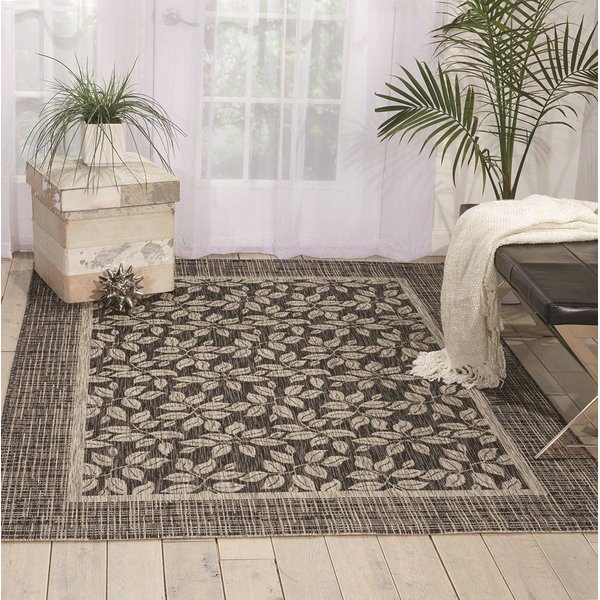 Charcoal Floral / Botanical Area Rug