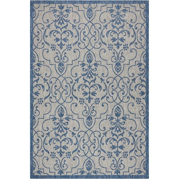 Ivory Blue Contemporary / Modern Area Rug