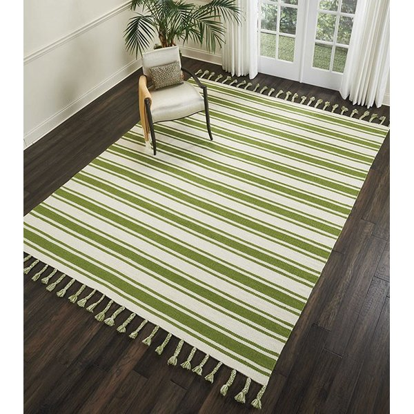 Ivory, Green Striped Area Rug