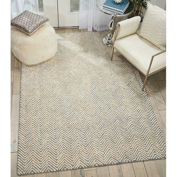 Light Blue, Ivory Chevron Area Rug
