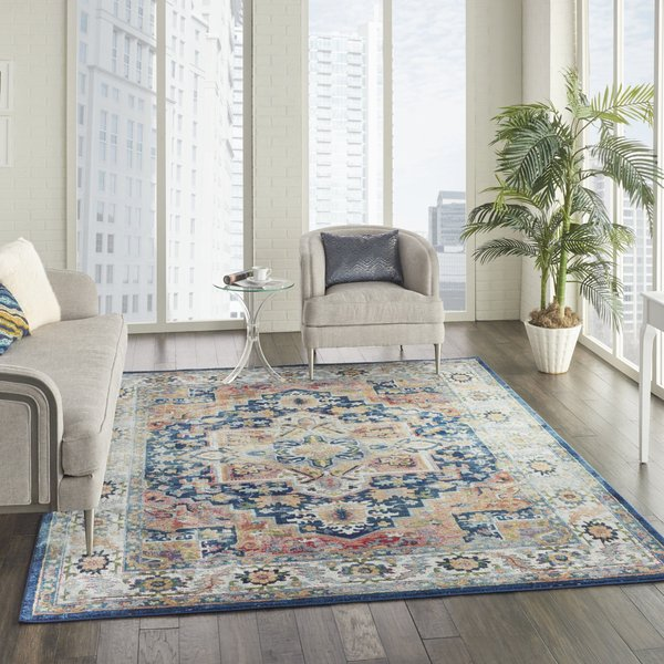 Blue, Ivory Traditional / Oriental Area-Rugs