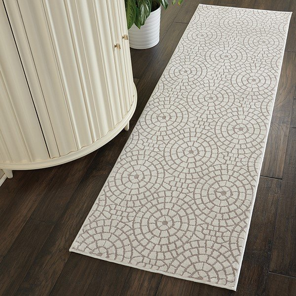 Cream, White Geometric Area-Rugs