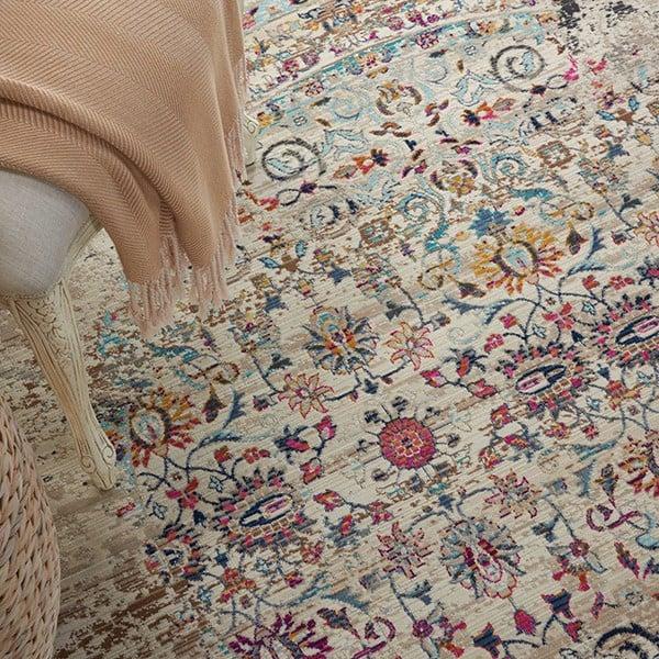 Cream, Ivory, White Vintage / Overdyed Area Rug
