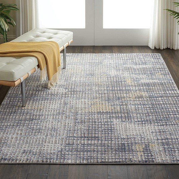 Grey, Ivory Contemporary / Modern Area-Rugs