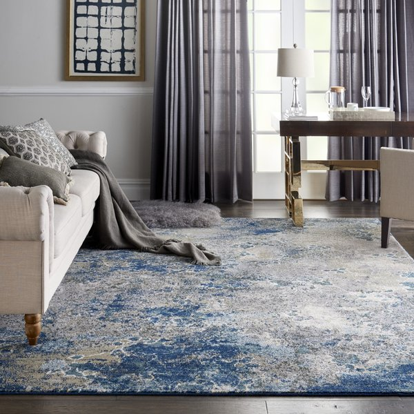 Blue, Grey Contemporary / Modern Area-Rugs