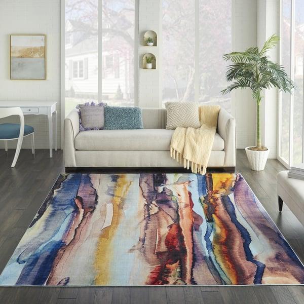 Orange, Blue, Purple Contemporary / Modern Area-Rugs