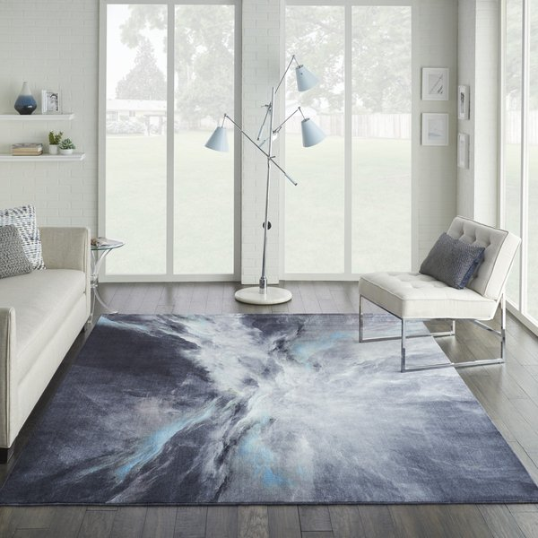 Grey, Blue, Ivory Contemporary / Modern Area-Rugs