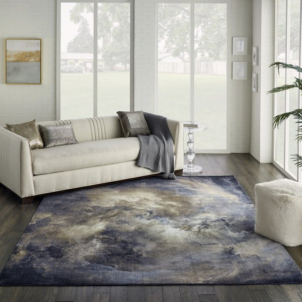 Blue, Grey, Ivory Contemporary / Modern Area-Rugs
