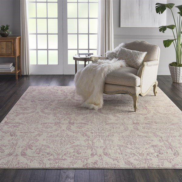 Ivory, Pink Vintage / Overdyed Area-Rugs