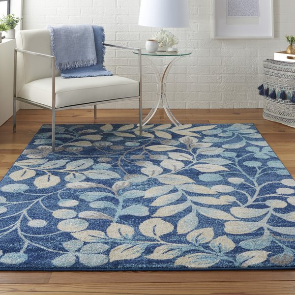 Navy Floral / Botanical Area Rug